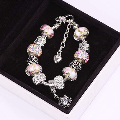 Lindsie-Box - Silver Color Bracelets Bangles Crystal Murano Beads Charm For Women DIY Vintage snowflake CZ Bead DIY Bracelets