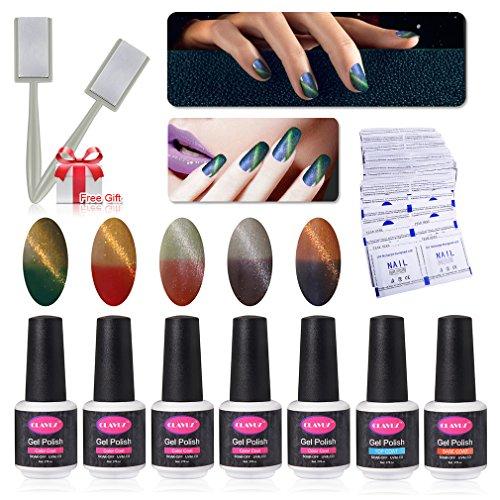 Gel Nail Polish Set 5pcs Magnetic Color Changing Nail Polish Top and Base Coat with 50 pcs Remover Soak Off UV LED Nail Art Kit by CLAVUZ