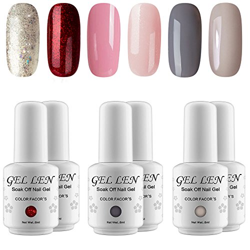 Gellen Gel Nail Polish Set - Popular 6 Colors (Champagne Glitter, Hot Shimmering Red, Strawberry Pink, Watery Peach, Charcoal Gray, Warm Gray)