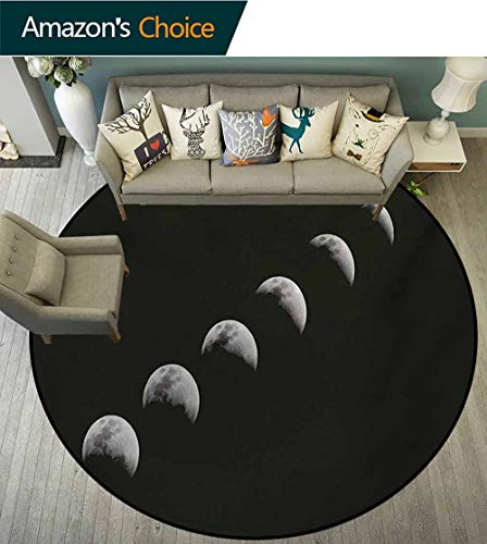RUGSMAT Moon Phases Art Deco Pattern Non-Slip Round Area Rug,A Lunar Eclipse Changing Phase of The Moon Astronomy and Universe Theme Foam Mat Bedroom Decor Bedroom,Diameter-59 Inch