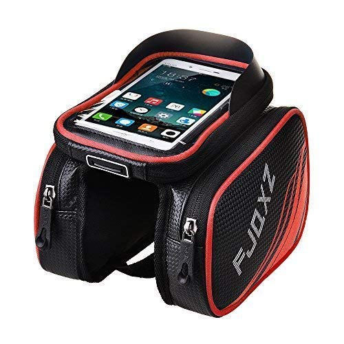 (fjqxz Bike Bag Bicycle Mobile Cell Phone Bag Case Top Tube Bag Handlebar Saddle Bag with Touch Screen Phone Case Red)
