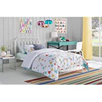 Novogratz Bright Pop Metal Bed - Twin Size, Sturdy metal frame (White)