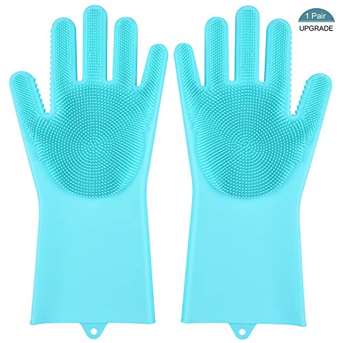 Magic Saksak Silicone Cleaning Gloves, Silicone Dishwashing Gloves for Kitchen Bathroom Cleaning, Pet Hair Care, Car Washing (1 Pair, Blue)