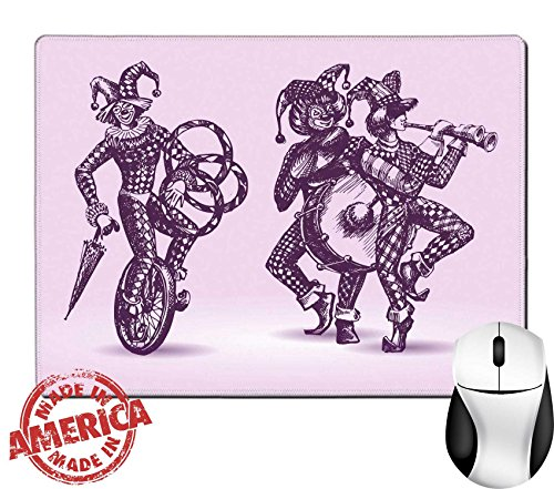 """Auguste Clown Costume (Luxlady Natural Rubber Mouse Pad/Mat with Stitched Edges 9.8"""" x 7.9"""" Clowns illustration IMAGE 19226420)"""