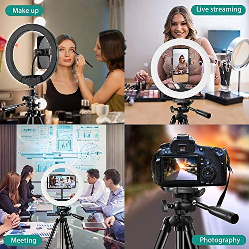 "TBJSM 10"" Selfie Ring Light Tripod Stand Phone Holder for Live Stream Makeup Desktop Led Camera Ring Light for YouTube Video TikTok Compatible with iPhone Android"