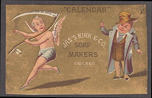 Calendar Jas S Kirk Soap Makers Chicago Victorian trade card 1880s Grim Reaper (Trade Card Victorian Soap)