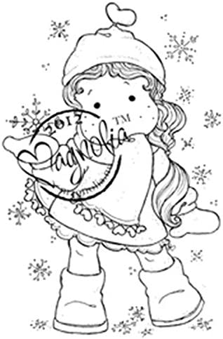 Magnolia Special Cling Stamp Tilda with Ribbon Heart Scarf 6.5 by 3.5-Inch