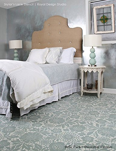 Skylar's Lace Floral Wall Stencil or Floor Stencil for Painting Large Flower Lacey Pattern by Royal Design Studio
