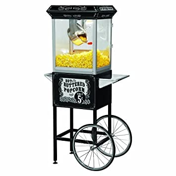 Funtime FT860CB Antique Carnival-Style 8-Ounce Hot-Oil Popcorn Popper with Cart, Black by Funtime