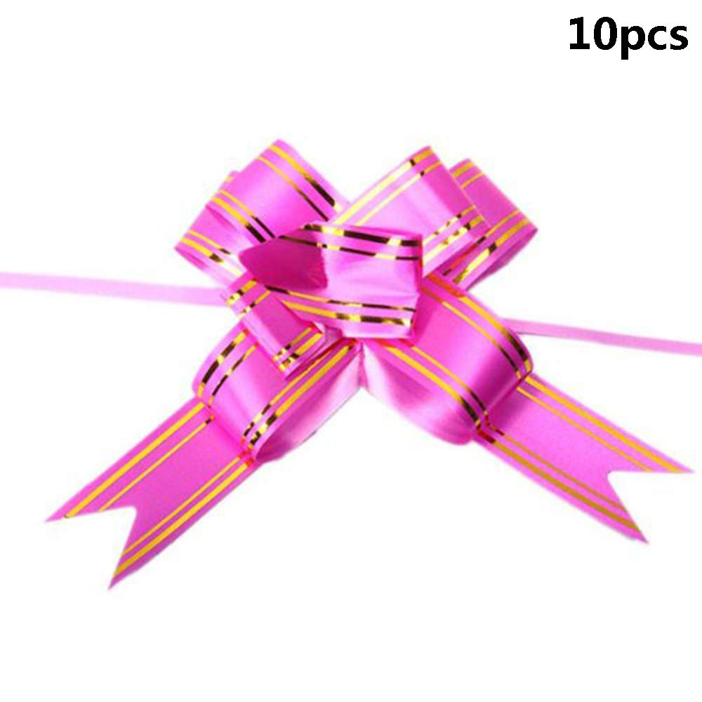 Potelin 10PCS Large Butterfly Style Golden Edge Ribbon Pull Bow Pink