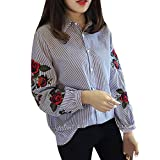 Software : Blouse,Han Shi Women Casual Striped Floral Embroidery Lantern Long Sleeve Loose Shirts (L, Blue)