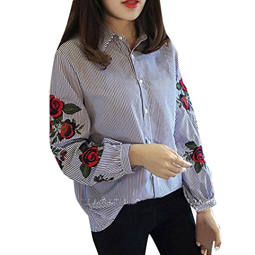 Blouse,Han Shi Women Casual Striped Floral Embroidery Lantern Long Sleeve Loose Shirts (M, Blue)