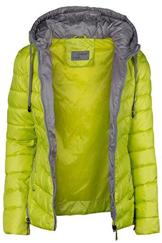 Chaqueta de invierno para Mujer, corta, acolchada, aspecto de plumón, Capucha, cuello, esquí, cremallera amarillo fluorescente