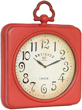 NIKKY HOME Retro Metal Square Quartz Wall Clock with Handle,Red 13.75 X 2.75 X 17.5 Inch