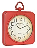 NIKKY HOME Square Space Wall Clock, 13-3/4×2-3/4×17-1/2, Red