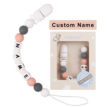 TYRY.HU Clips para chupete personalizados Mordedores de silicona para bebé Juguetes para dentición Soother Cadena de chupete Cuentas masticables ...