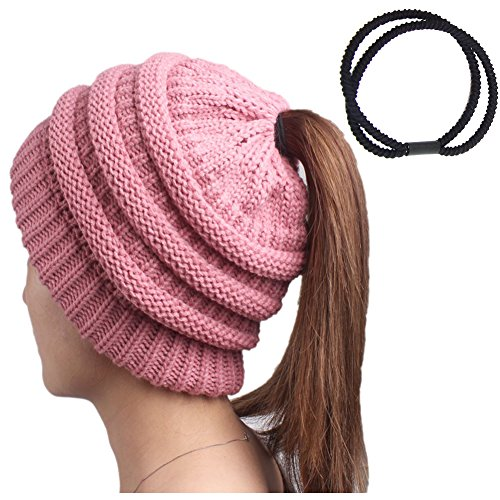 Pony Tail Beanie Hat for Women Lady Soft Chunky Knit Hats Girl Slouchy Ribbed Bun Beanies Warm Autumn Winter Skull Cap Pink Trendy Crochet Skullies with a Ponytail Holder