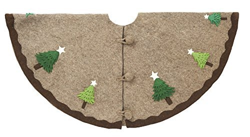 Arcadia Home T1G Multilayered Trees On Grey Christmas Tree Skirt in Hand Felted Wool, Natural by Arcadia Home (Image #1)