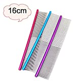 Glumes 16cm Stainless Steel Comb Pet Grooming Brush Anti-Static Hair Shedding Comb for Long Hair Dog & Cat with Different Spaced Rounded Teeth,Wide Trimmer Comb