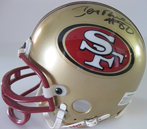(Jerry Rice, San Francisco 49ers, Hall of Fame, Signed, Autographed, Mini Helmet, a COA with the Proof Photo of Jerry Signing Will Be Included)