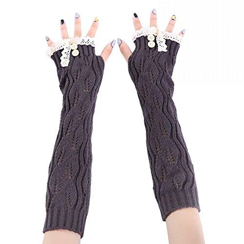Angel Wardrobe Knit Long Fingerless Thumb Hole Arm Warmers