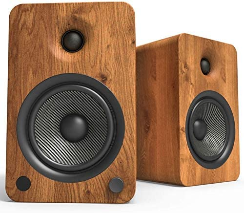 Kanto YU6 Powered Bookshelf Speakers with Bluetooth and Phono Preamp, Walnut