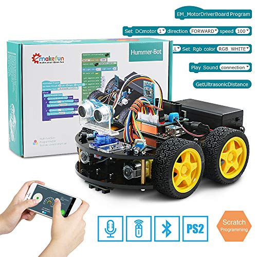 Emakefun Smart Robot Car for Arduino with UNO R3 ,Scratch Programming,4WD Remote Control,Line Tracking,Ultrasonic Sensors,Bluetooth Modules,Learning and Education Toy.