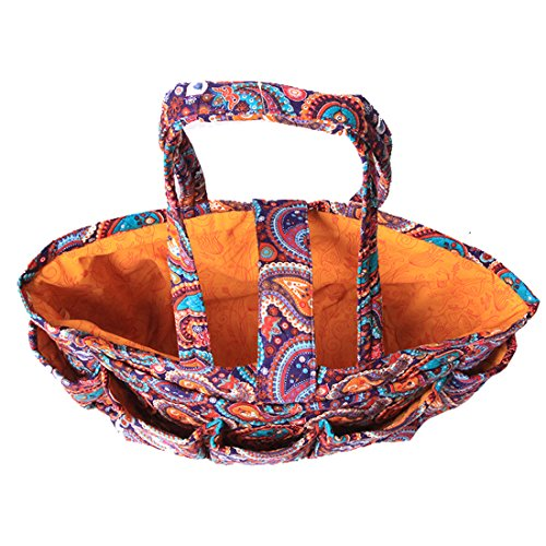 Floral Quilted Cotton Needle Bag Knitting Bag Yarn Storage Tote (Purple Paisley) by MAGOU (Image #3)