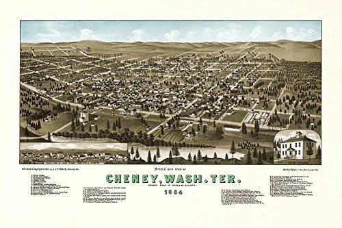 Large MAP of Bird's eye view of CHENEY Washington Terrace Sp