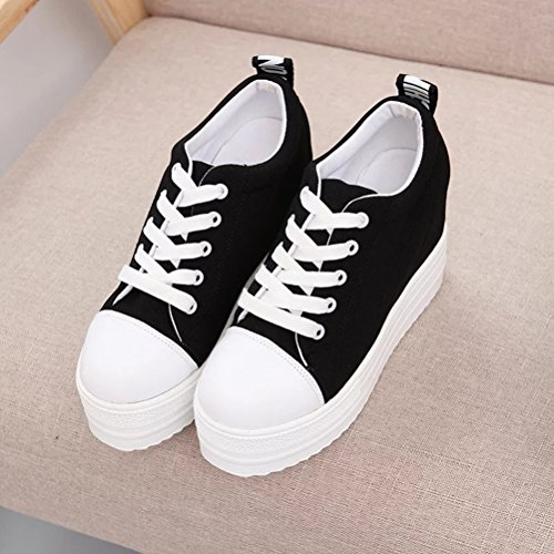 Fashion Heel Canvas T Lace Wedge Shoes amp;Mates Womens Hidden Black Breathable up Platform Ew06nq0Rv