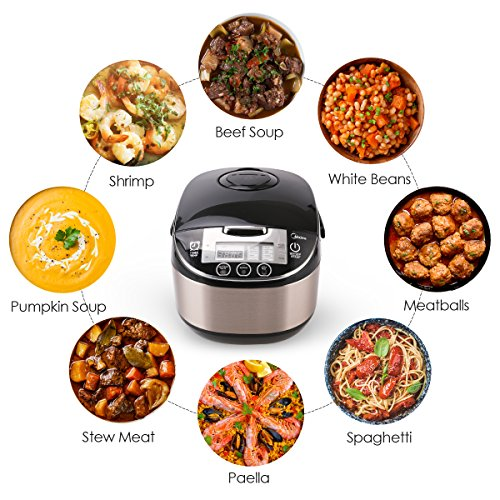 Midea 5 Quart 8-in-1 TasteMaker Rice Cooker/Multi-Functional Cooker (MMC1710-B), Stainless Steel with Black Lid by MIDEA (Image #2)