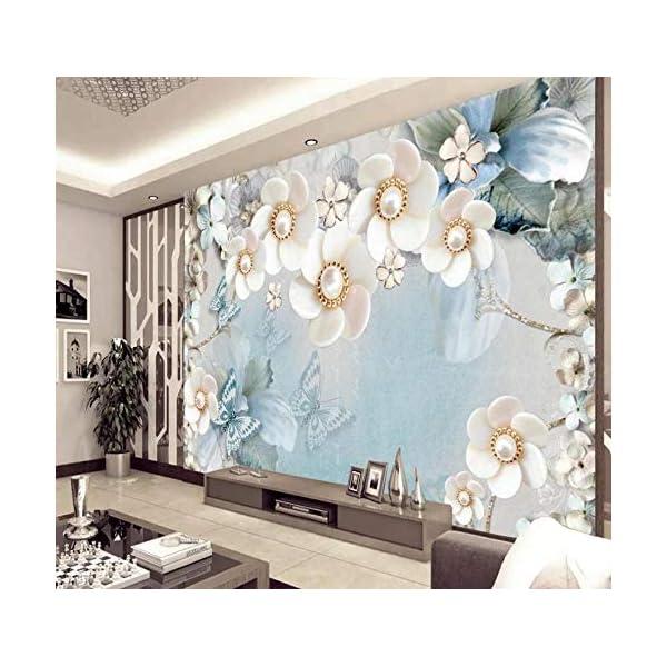LIWALLPAPER-Carta-Da-Parati-3D-Fotomurali-Farfalla-Gioielli-Fiore-Moderno-Camera-da-Letto-Decorazione-da-Muro-XXL-Poster-Design-Carta-per-pareti-200cmx140cm