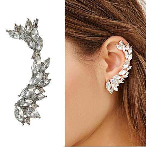 Kiokioa Cute Crystals Cuff Earrings Hypoallergenic Stud Ear Climber Jacket for Women 1 Pairs (Silver)