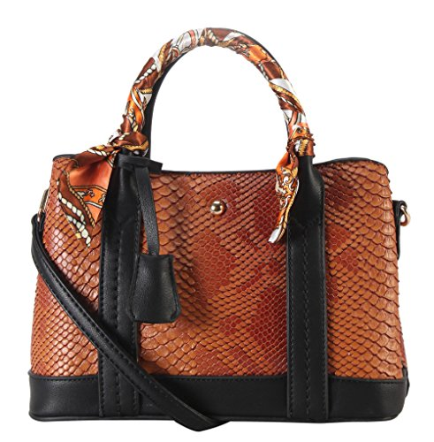 rimen-co-pu-leather-snake-skin-pattern-top-handle-handbag-accented-with-scarves-decor-enlaced-womens