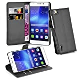 Cadorabo - Book Style Wallet Design for Huawei HONOR 6 with 2 Card Slots and Stand Function - Etui Case Cover Protection Pouch in OXID-BLACK