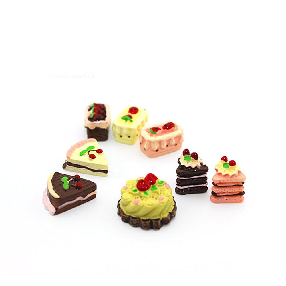 Elisona-8 Pcs Mini Resin Cake Dollhouse Doll House Miniature Cake Accessories Toy Set