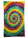 Vrinda Tie-Dye Spiral Tapestry Beach Sheet Hanging Wall Art - Perfect for Meditation and Yoga