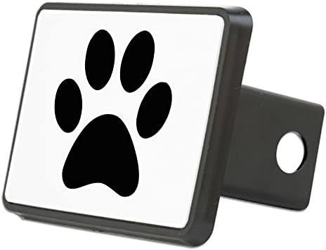 Fit 2 Receivers, Chrome /& Black LFPartS Dog Animal Paw Foot Emblem Metal Trailer Hitch Cover