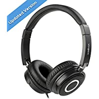 On Ear Headphones, Vogek Lightweight and Foldable Bass Headphones with Volume Control and Microphone-Black