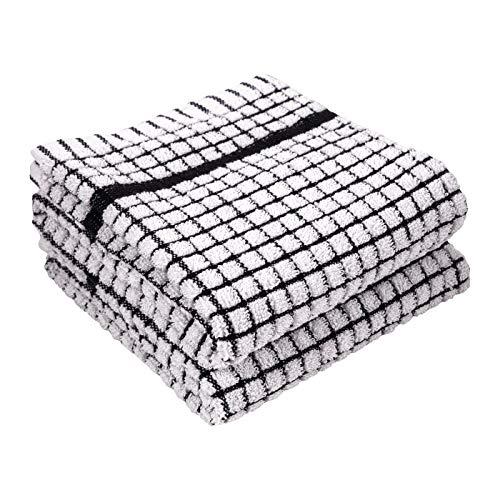 LaPrima Shops Set of 2 Terry Kitchen Towels, 20 x 30-inch 100-Percent Cotton (Black)