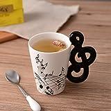 Aihesui Originality Love Music Notes Musical Instruments Ceramic Coffee Mug Musical Note Theme Mug