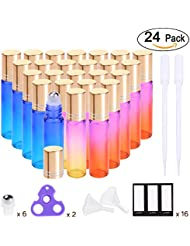 Essential Oil Roller Bottles 10ml ( Rainbow Glass Bottle, 24 pack, 6 Extra Stainless Steel Roller Balls, 48 Labels, 2 Openers, 2 Funnels by PrettyCare ) Roller Balls For Essential Oils, Roll on Bottle