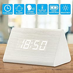 Oct17 Wooden Wood Clock, 2018 New Version LED Alarm Digital Desk Clock 3 Levels Adjustable Brightness, 3 Groups of Alarm Time, Displays Time Date Temperature - White (White Light)
