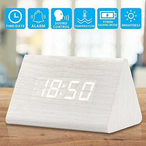 Oct17 Wooden Wood Clock, 2018 New Version LED Alarm Digital Desk Clock 3 Levels Adjustable Brightness, 3 Groups of Alarm Time, Displays Time Date Temperature - White (White (Du Wood Clock)