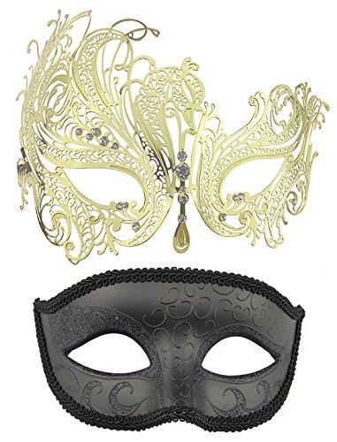 Coddsmz 2 Pack Set Masks Masquerade Ball Halloween Costumes Mardi Gras Party Mask for Men and Women ()