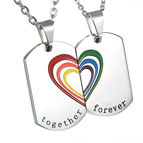 Cupiamtch 2PCS Couple Necklace Stainless Steel Rainbow Heart Matching Dog Tag Pendant Chain (Couple Necklace) ()