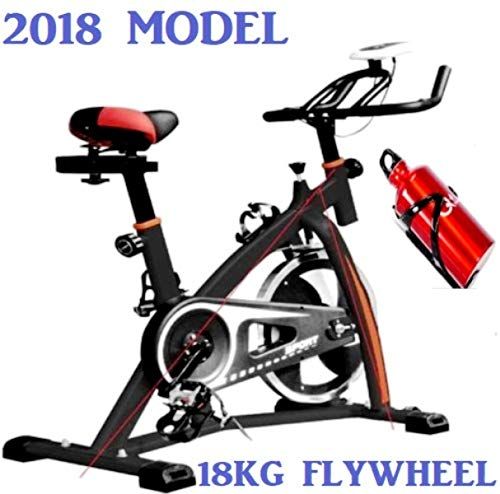 PROGEN 2018 New Heavy Duty 18KG Flywheel Aerobic Studio Training Bike Exercise Bike Fitness Cycling Home Fitness Gym LED Monitor (FREE WATER BOTTLE INCLUDED)