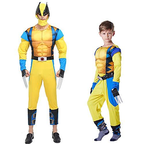 S&C Live ハロウィンコスチューム 大人 メンズ ウルヴァリンコスチューム3点セット 全身衣装 お面付 プラスチック製クロー爪2本付 ローガンコスチューム イエロー 黄色  大きいサイズ ウルヴァリン筋肉服 かっこいい マッチョ 戦ってる感 ウルヴァリン着ぐるみ Wolverine Costume Logan Costume マーベルスーパーヒーロー ウルヴァリン コスプレ メンズ 男性 X-メンコスプレ ニューアベンジャーズコスプレ#180239 (大人-フリーサイズ)