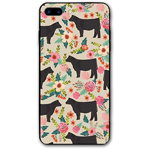 iPhone 7/8 Plus Case Steer Floral Cows Farm Barn Design Printed Black/Transparent Plastic with Durable Bumper Protective Back Phone Case Cover for Apple iPhone 7/8 Plus(5.5 Inch)