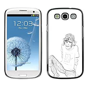 Colorful Printed Hard Protective Back Case Cover Shell Skin for SAMSUNG Galaxy S3 III / i9300 / i747 ( Boy Guy Man Pencil Chilling Drawing Art Brow )